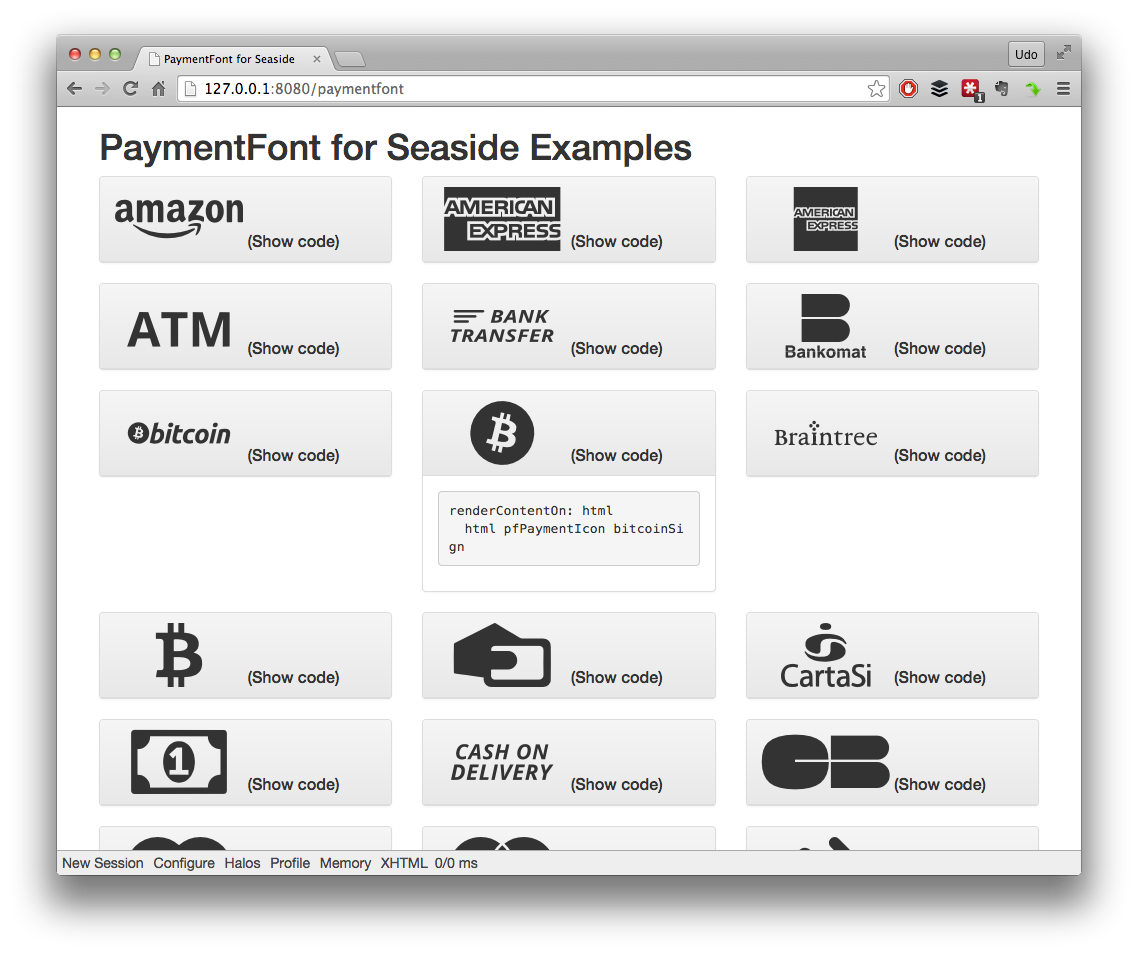 PaymentFont for Seaside Examples Browser